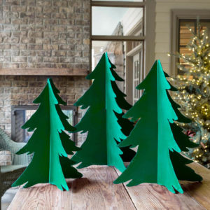 Painted Green Free-Standing Metal Christmas Trees Set of 3