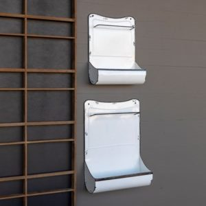 Enamel Painted Kitchen Towel Holder and Wall Bin