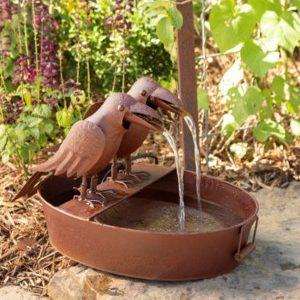 Crow Fountain in Farm Tub