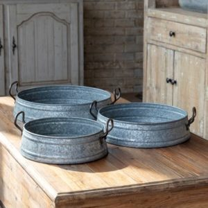 Galvanized Feed Pan Trays Set of 5