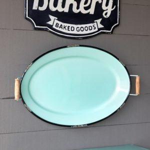 Vintage Enamel Decorative Tray