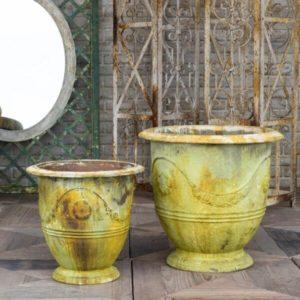Saffron Metal Pot, Set of 2