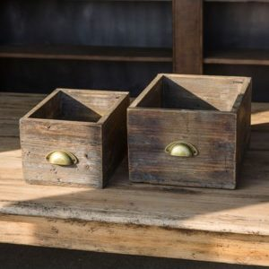 Large Wooden Drawer Boxes Set Of 2