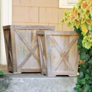 Rclmed Wood Town & Country Planter, Set of 2