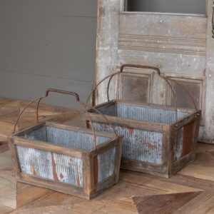 Tin Sided Garden Tote Set of 2