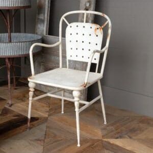 Aged White Cafe Arm Chair