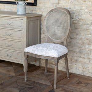 Tuscan Velvet Brocade Cane Back Dining Chair