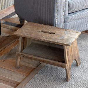 Wooden Rectangle Garden Stool
