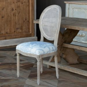 French Blue Bouquet Cane Back Dining Chair