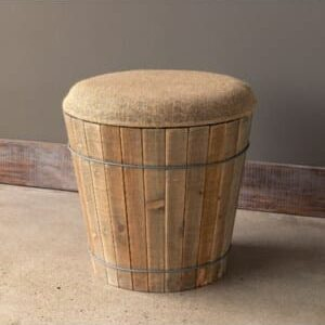 Burlap Topped Wooden Barrel Seat