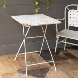 Aged White Square Cafe Table
