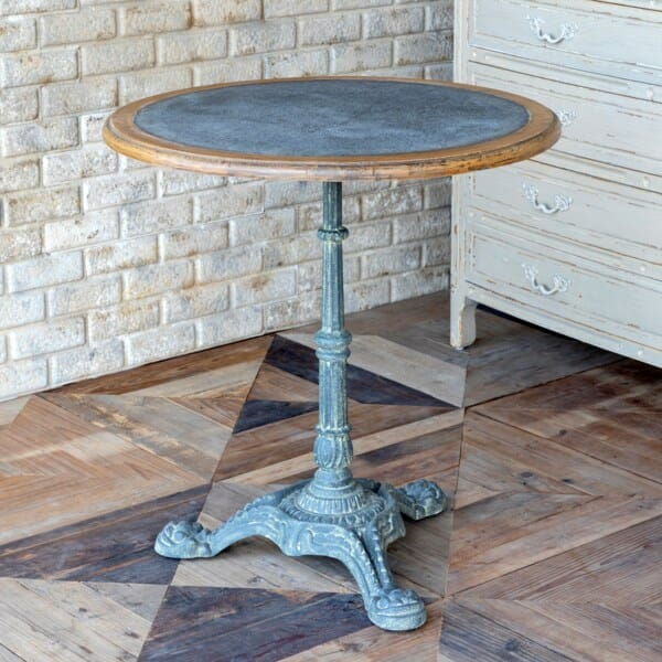 Zinc Topped Round Cafe Table