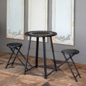 Foldable Bistro Table with 2 Stools