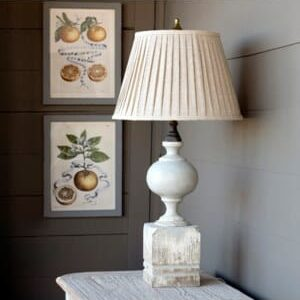 Painted Post Lamp w/Pleated Shade