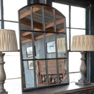Arched Metal Warehouse Window Mirror