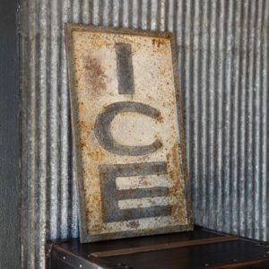 Aged Metal Ice Sign