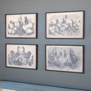 Framed Poultry Print on Canvas 4 Asst Styles