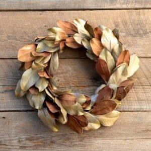 Dried-Look Magnolia Leaf Wreath