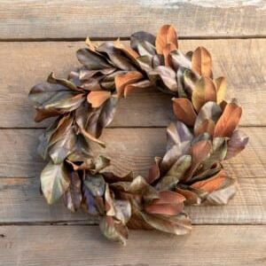 Bronzed Magnolia Leaf Wreath