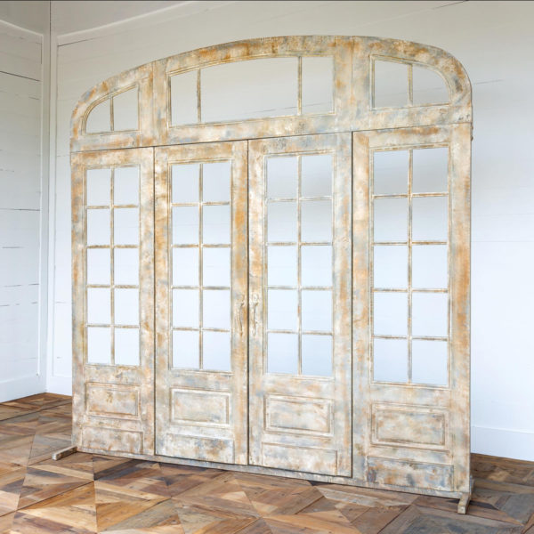 Metal French Door with Top and Side Lights Facade