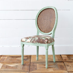 Cane Back Vintage Rose Print Dining Chair Min 2