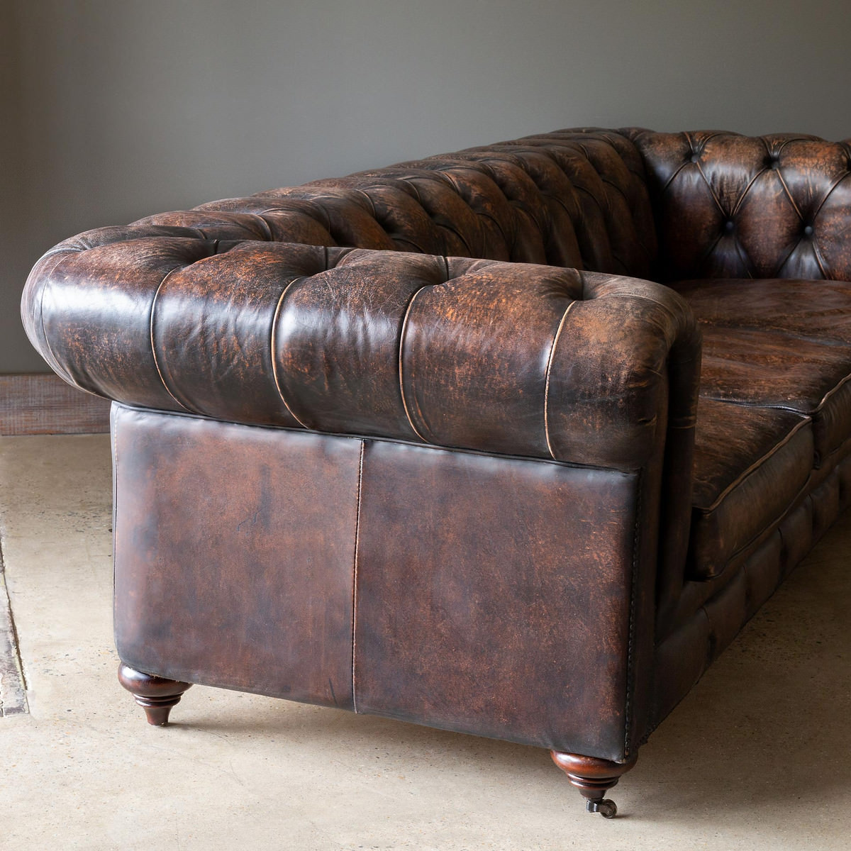 Aged Leather Chesterfield Sofa