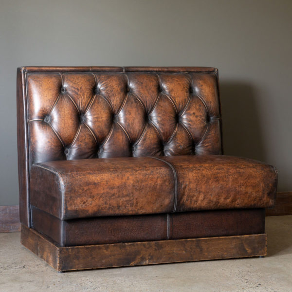 Aged Leather Restaurant Booth