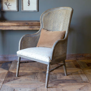 Cane Back Accent Chair with Edge Hill Pattern Seat and Velvet Pillow Min 2