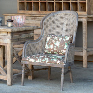 Cane Back Accent Chair With Vintage Rose Seat Min 2