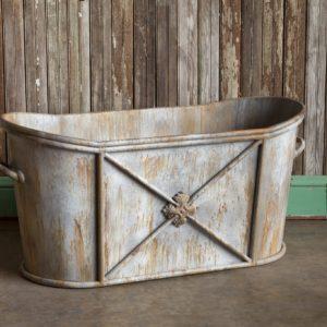 Aged Metal Soaking Tub Relic