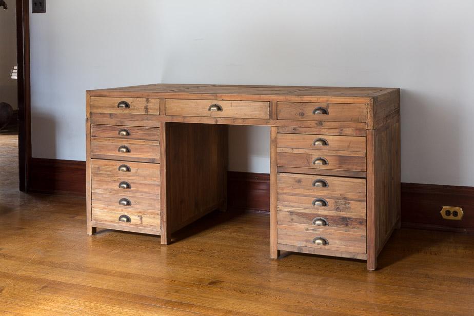 Old Pine Map Drawer Desk