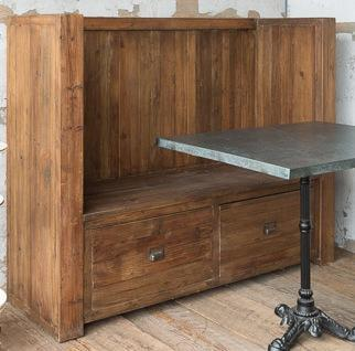 Reclaimed Pine Booth Bench
