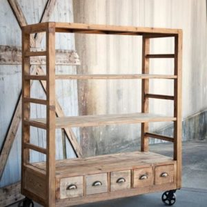Vintage Style Rolling Factory Shelves