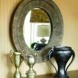 "Primitive Wooden Oval Mirror 28x32"""