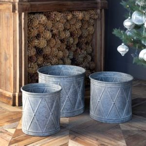 Metal Drum Planters Set of 3