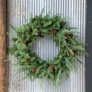 Mixed Evergreen Wreath with LED Lights